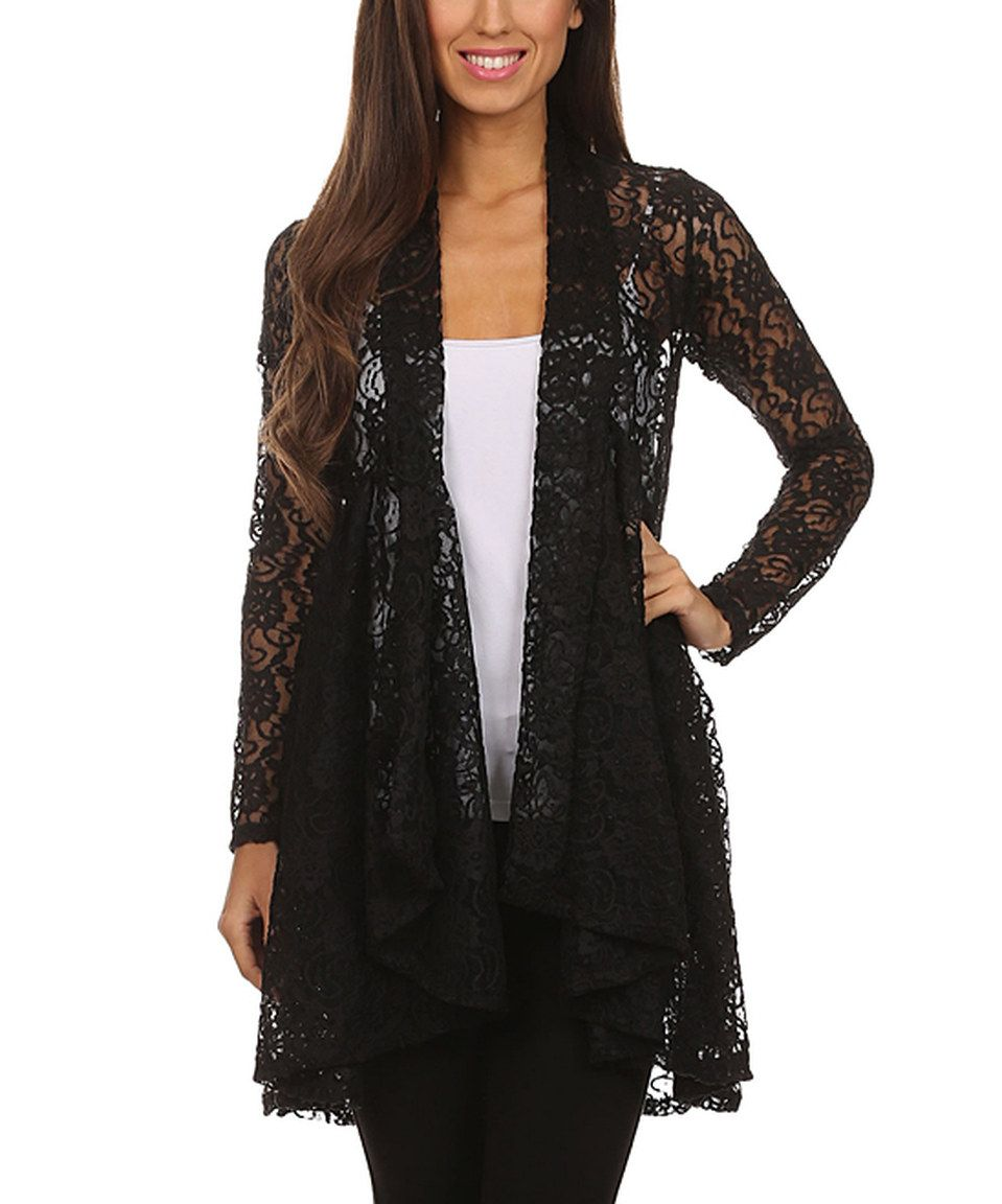 Black Floral Lace Drape Open Cardigan by Pretty Young Thing ...