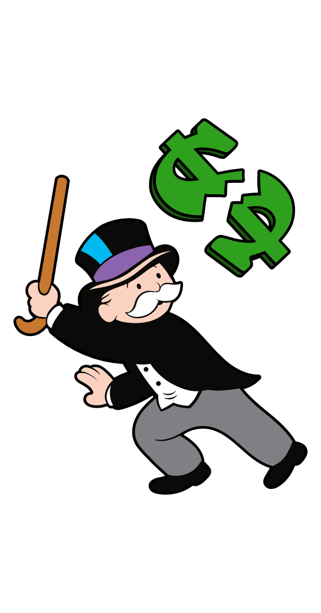 Rich Uncle Pennybags Breaks The Dollar Monopoly Man Cartoon Stickers Popular Cartoons