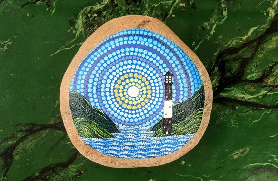 Lighthouse Pointillism Dot Art Painted Rock Landscape Mandala