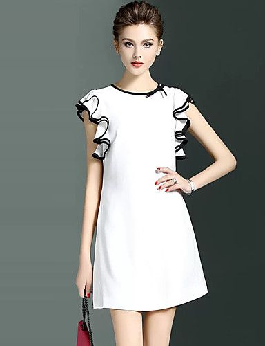 Women s Going out Plus Size Casual Sheath Dress Solid Round Neck
