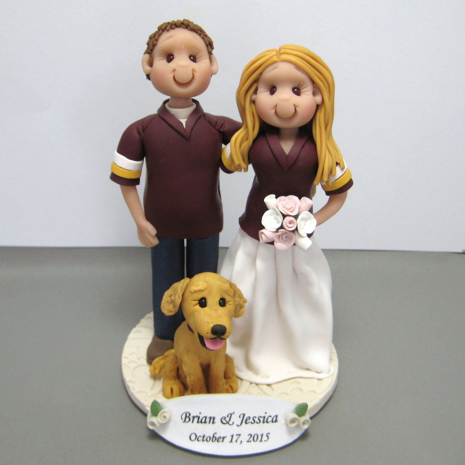 Reserved For Diane Balance Due For Custom Redskins Jersey Wedding Cake Topper With Golden Retrie Wedding Cake Toppers Wedding Cakes Custom Wedding Cake Toppers