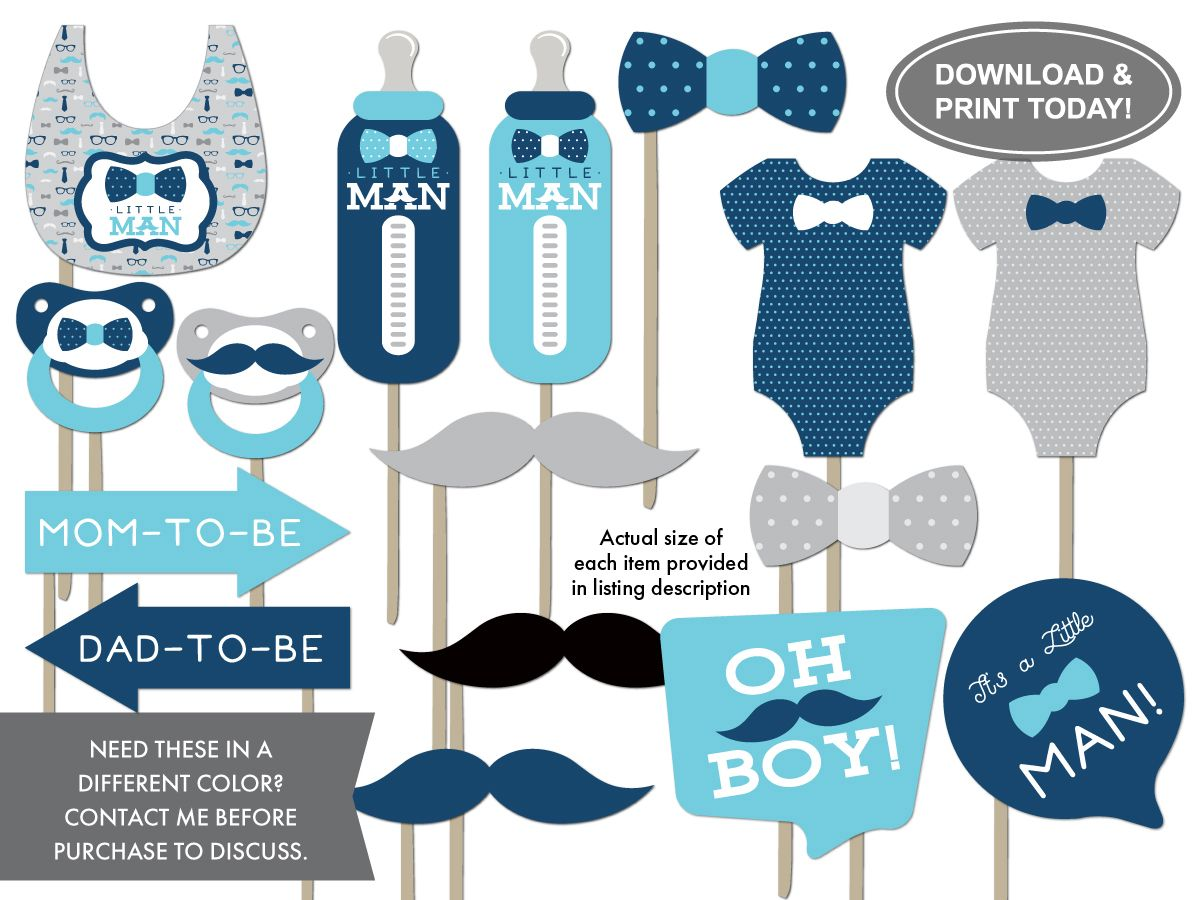 Little Man Photo Booth Props Baby Blue Navy Blue Baby Shower