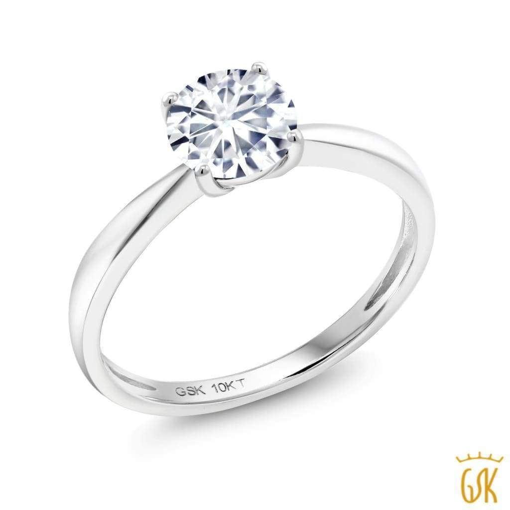 10K White Gold Ring Forever One GHI Round Created Moissanite