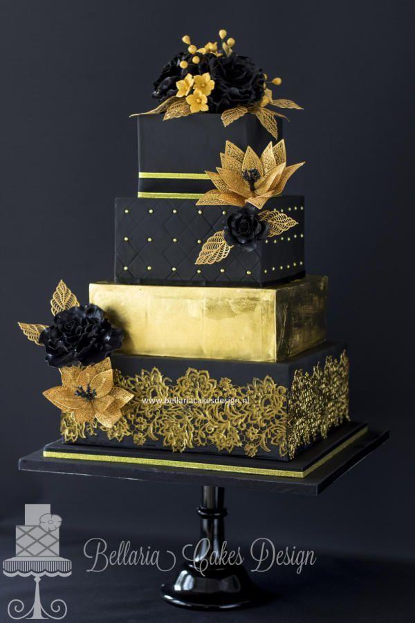 Black and gold wedding cake: