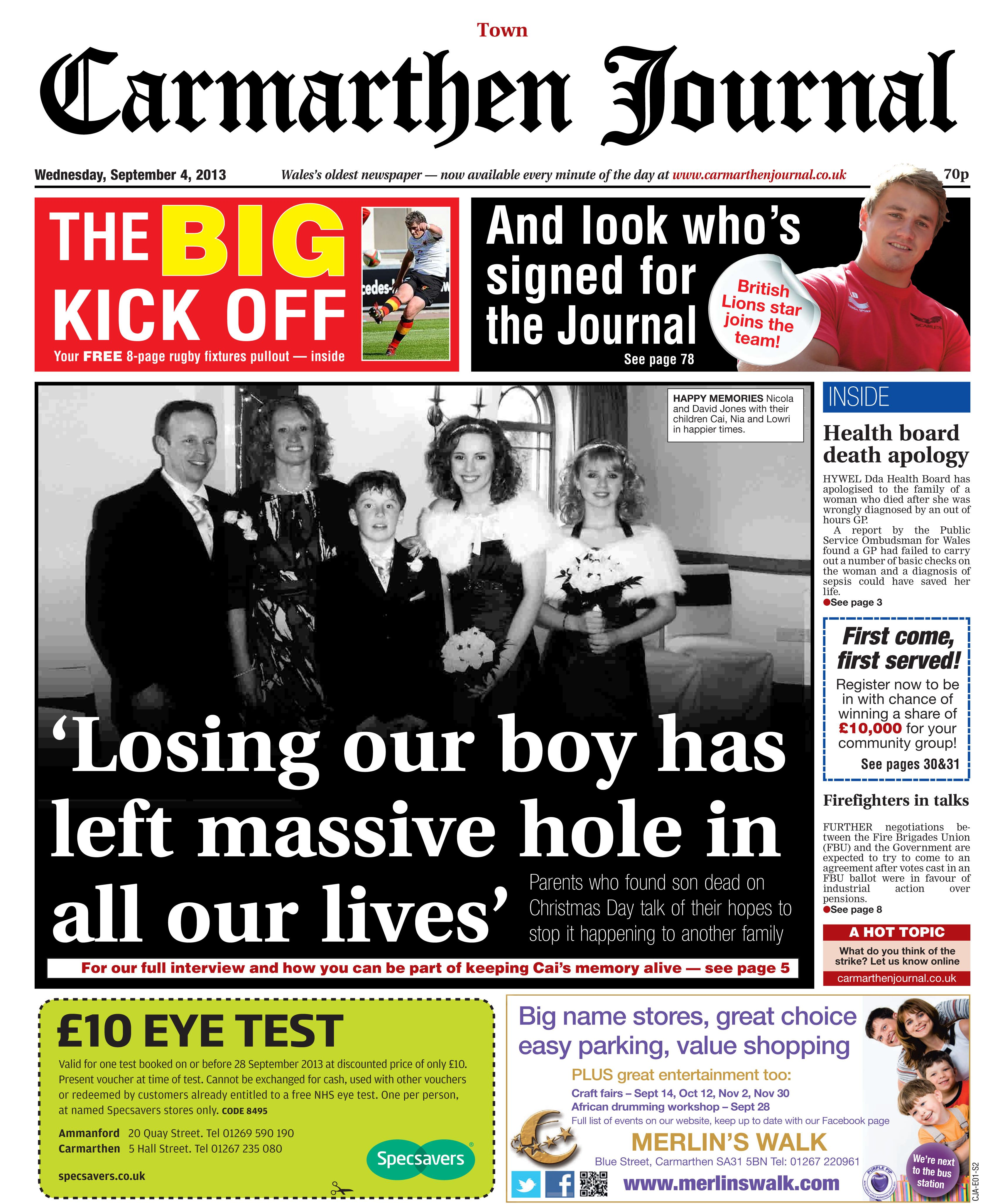 Carmarthen Family Wants To Keep Son S Memory Alive Http Www Carmarthenjournal Co Uk Cai Fit Active Child Devastat Health Board Activities For Kids Memories