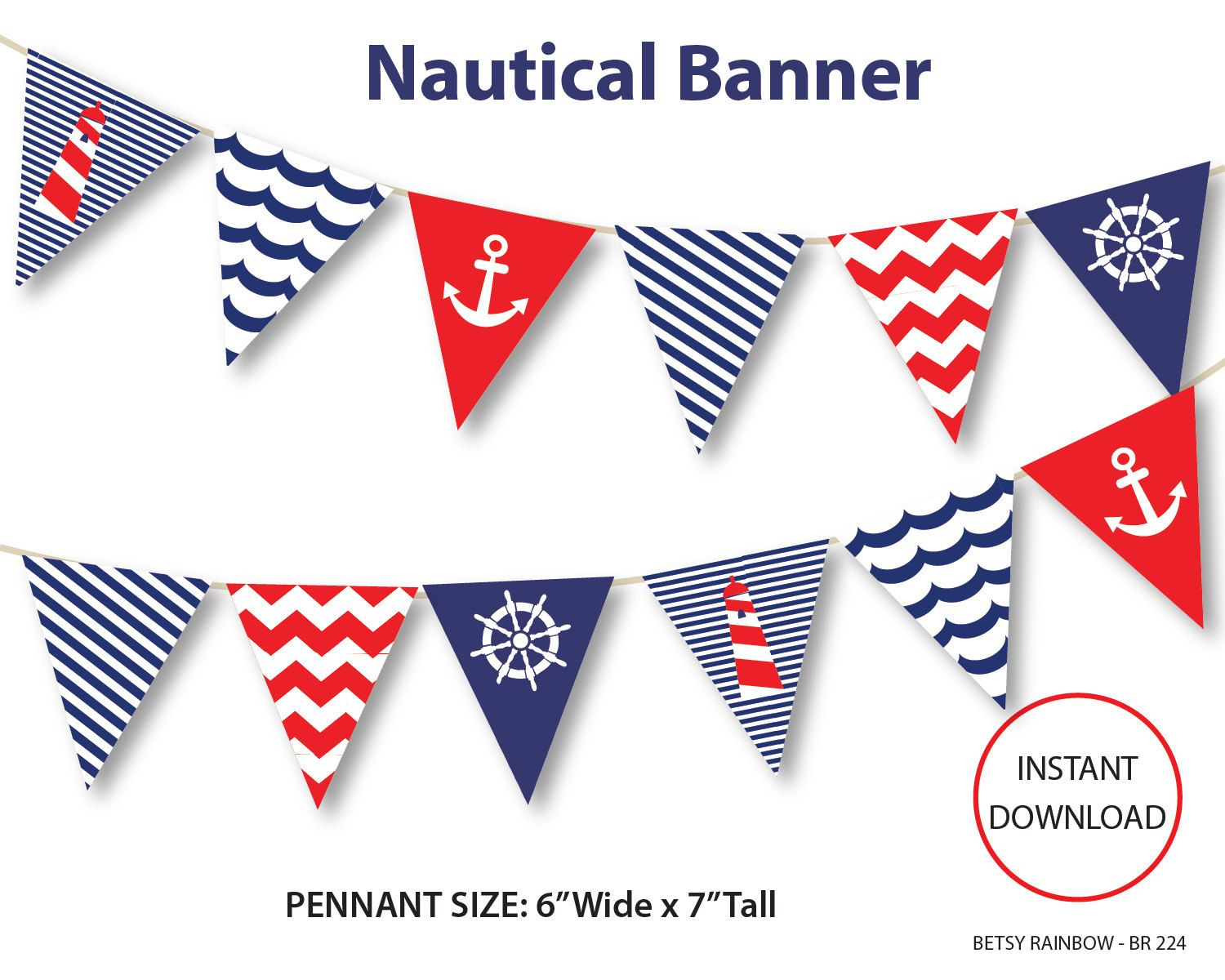 Nautical banner printable banner nautical diy party navy blue nautical bunting pennants br for Printable pennant banner