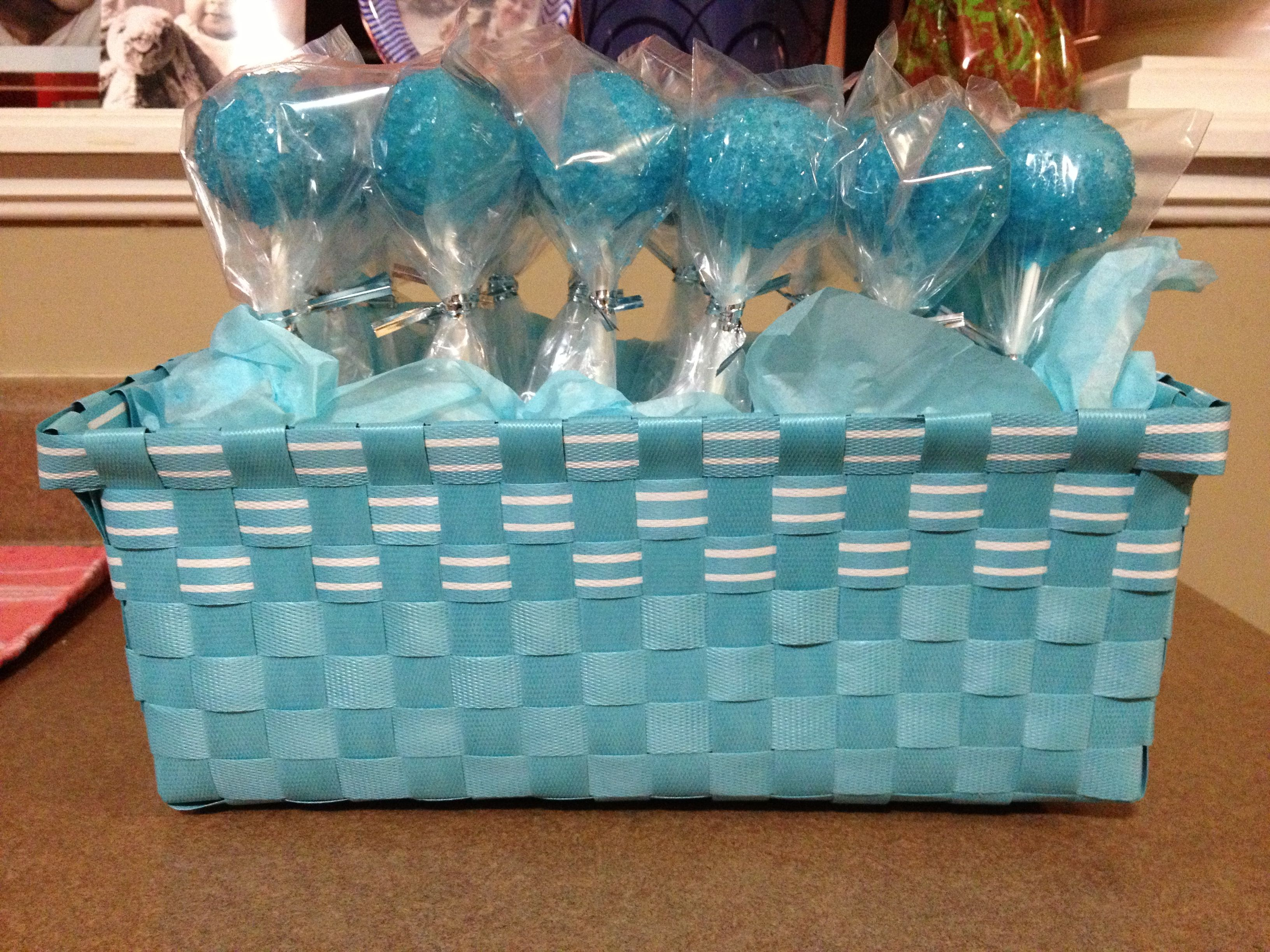 Blue vanilla cake pops with blue sprinkles great for baby