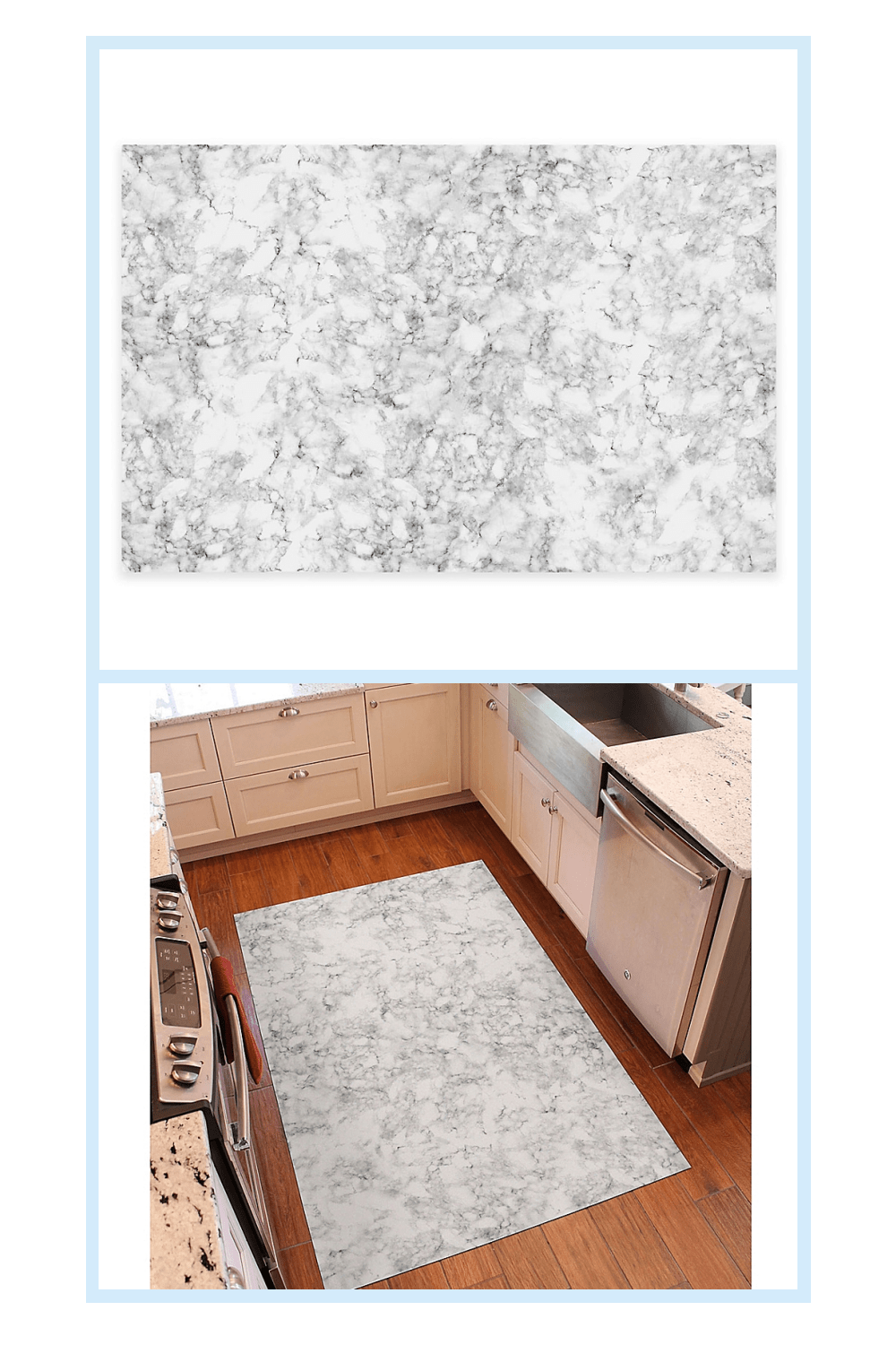 Florart 72 X 48 Classic Marble Kitchen Mat In White Kitchen Marble Kitchen Mat White Bedding