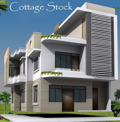 Cottage stock independent houses house elevation modern for Independent house front elevation photos