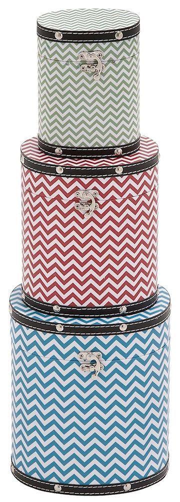Zig Zag Pattern Wood Vinyl Tall Oval Hat Box Storage Set Of 3