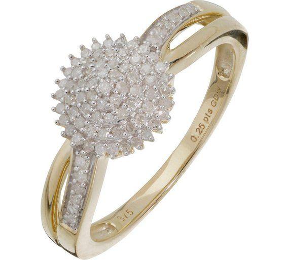 Buy 9ct Gold 0 25ct tw Diamond Cluster Ring at Argos visit