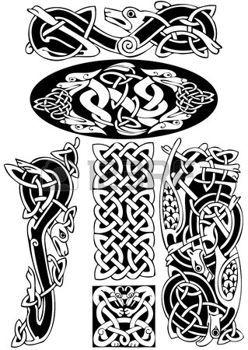 keltisch: Keltische Kunst-Sammlung auf einem weißen Hintergrund.