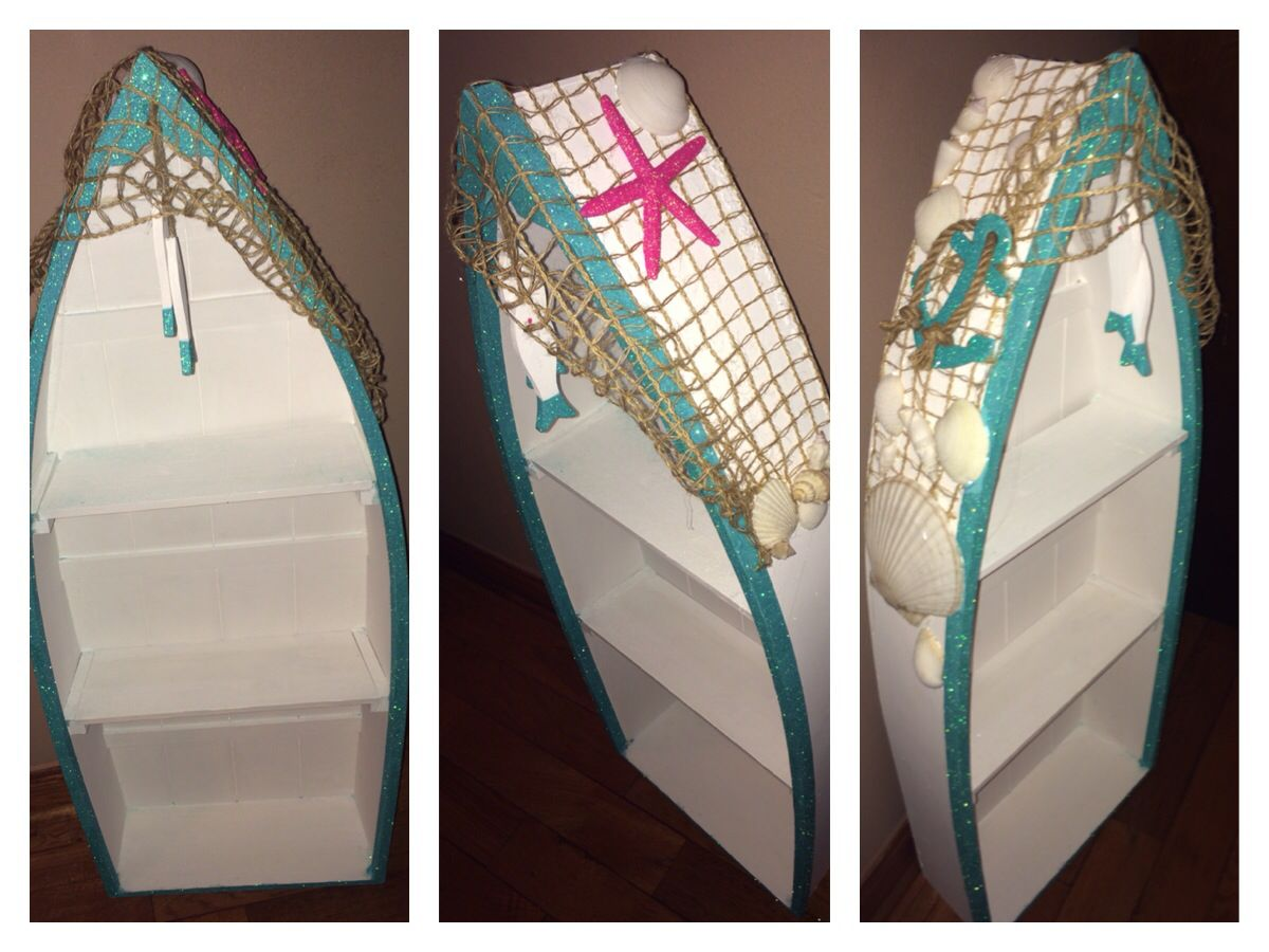238b9d0184611 My hobby lobby boat shelf... I totally re painted this and re-decorated it  to match my beach room!