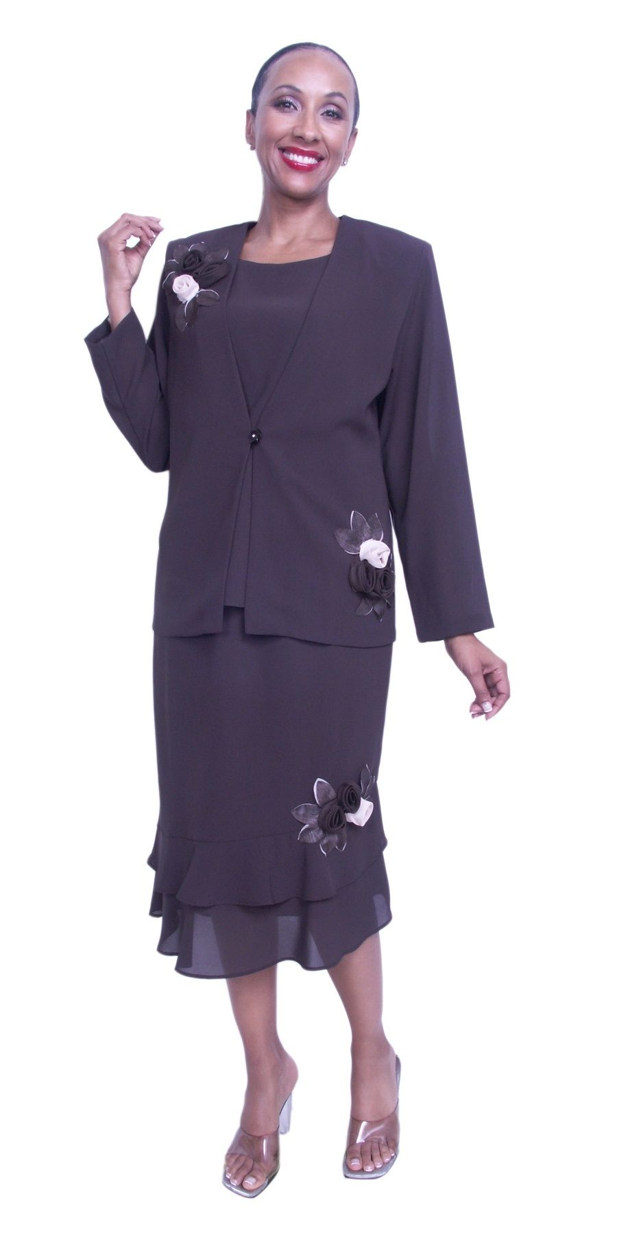 b2dd810f0e0 Cheap Plus Size Brown Mother of Bride Dress 3 Piece Tea Length  108.99  Cruise Dress