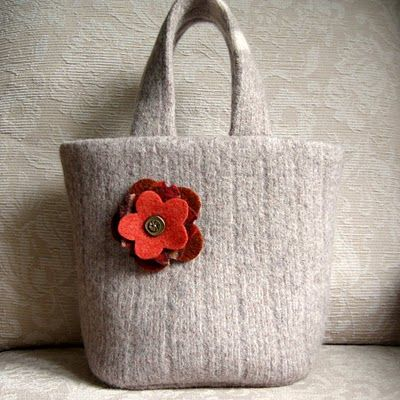 Knitting Project Bag Knitting Bag Notion Bag Zippered Project Bag Brown Upcycled Wool Notion Bag Project Bag