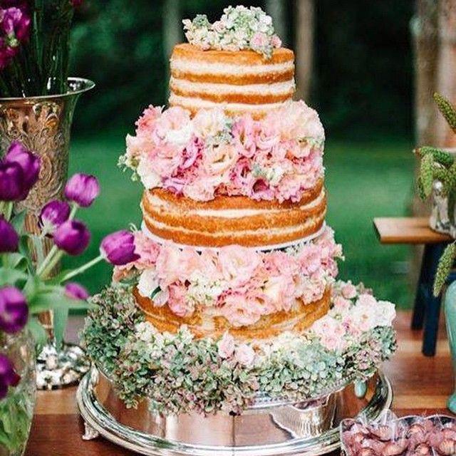 Bolo de casamento: semi naked cake com flores - Planejando