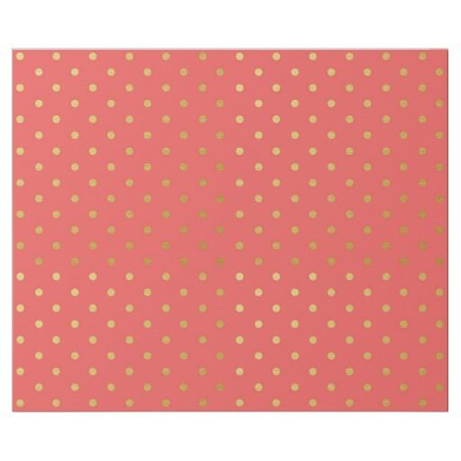 Gold Foil Polka Dots on Coral Metallic Wrapping Paper (zazzle)