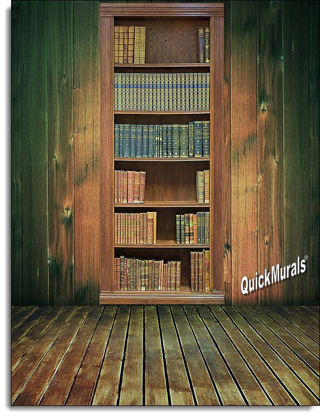 Library bookshelf 1 Piece Peel Stick WallDoor Mural Hobbies
