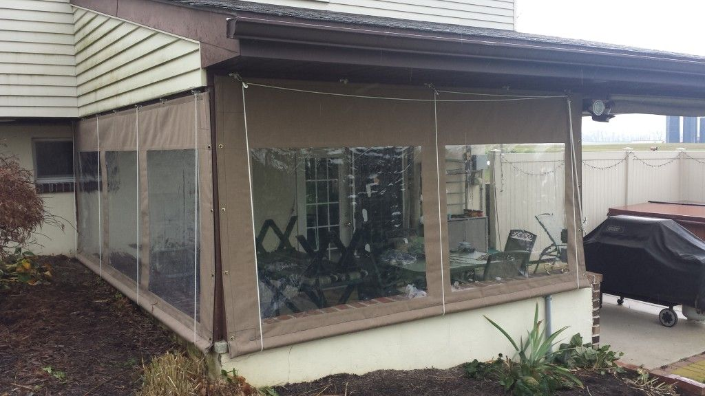 drop curtains with clear vinyl panel