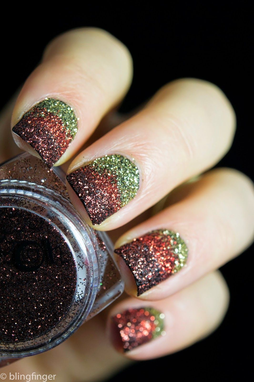 Blingfinger\'s Loose Glitter Gradient. Nail polish used: Duri Into ...