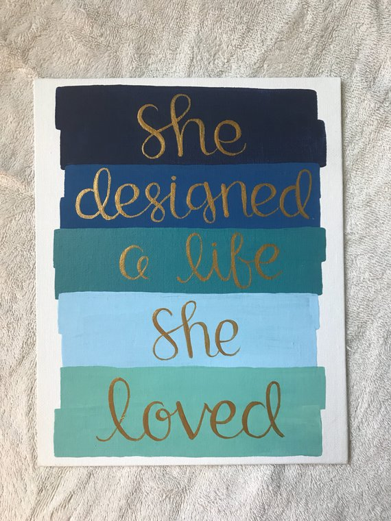 Cute Quote Dorm Canvas Board Paint Strokes Acrylic Painting Blue