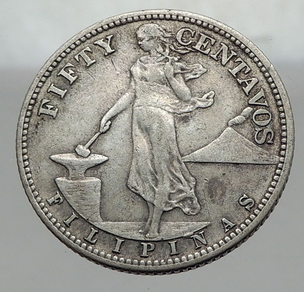 1944 S Philippines Fifty Centavos United States Of America Silver
