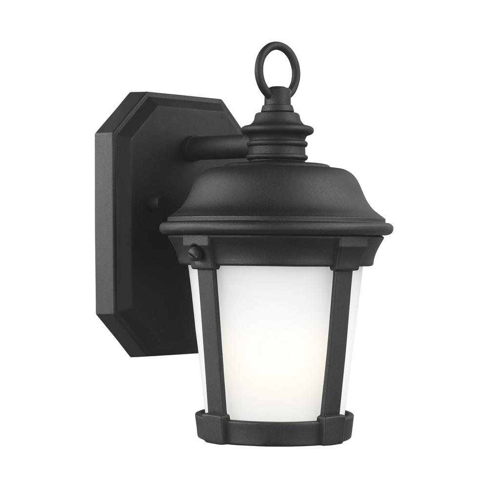 Sea Gull Lighting Calder 1 Light Black Outdoor 10 In Wall Lantern Sconce With Led Bulb 8550701en3 12 Outdoor Wall Lantern Outdoor Wall Lighting Wall Lantern