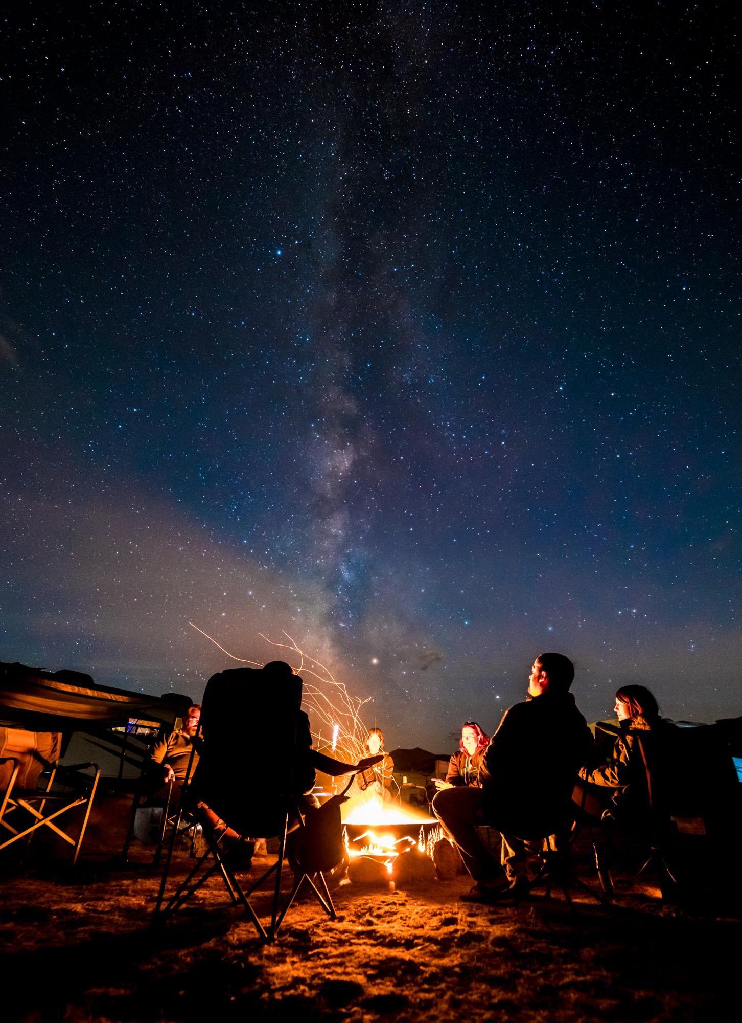Campfire under the Milky Way near Poncha Springs CO ...