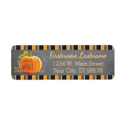 #Custom Pumpkin Orange Green Stripes Pattern Label - #Halloween happy halloween #festival #party #holiday
