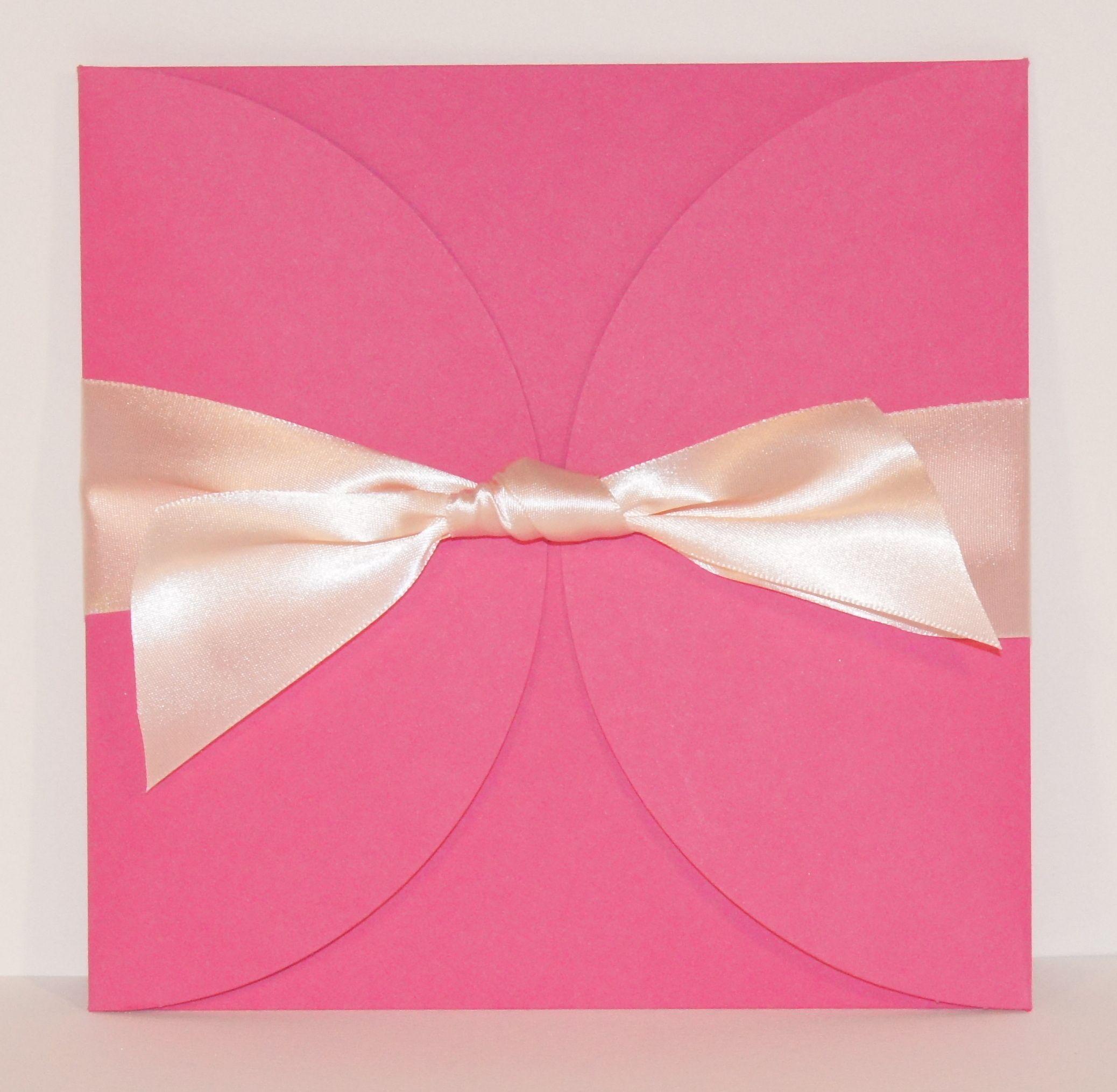 Wedding Invitation 6x6 Ribbon Tied Petal Fold Invitation