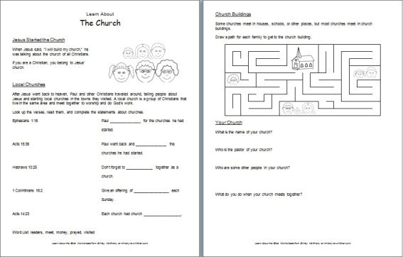 Information and worksheets for children | St Peter's Church