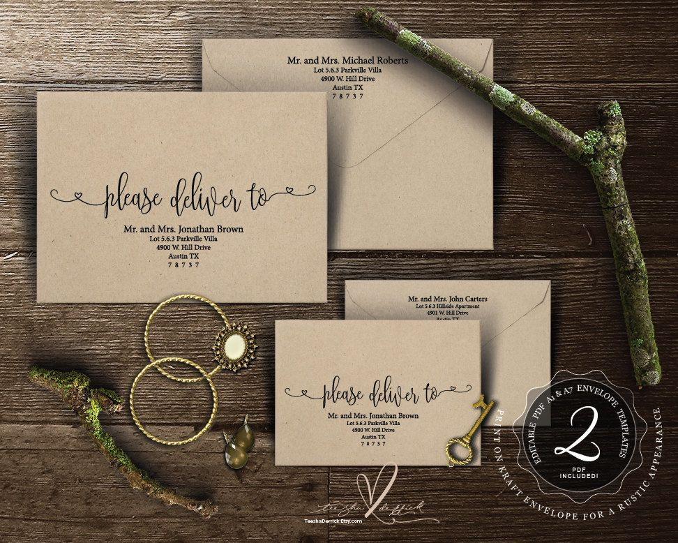 wedding invitation label templates%0A Editable Envelope template  Please deliver to  Instant Download PDF  Kraft  rustic calligraphy Theme for Wedding Invitation Set  TED