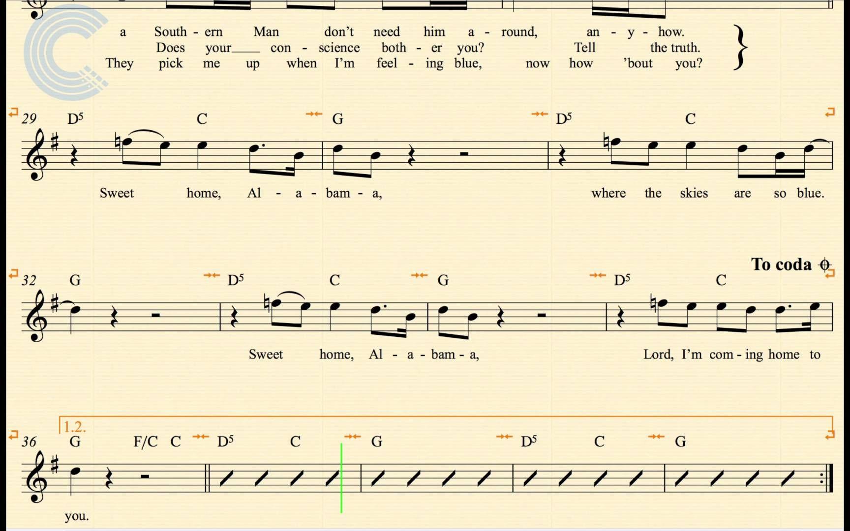Flute Sweet Home Alabama Lynyrd Skynyrd Sheet Music Chords