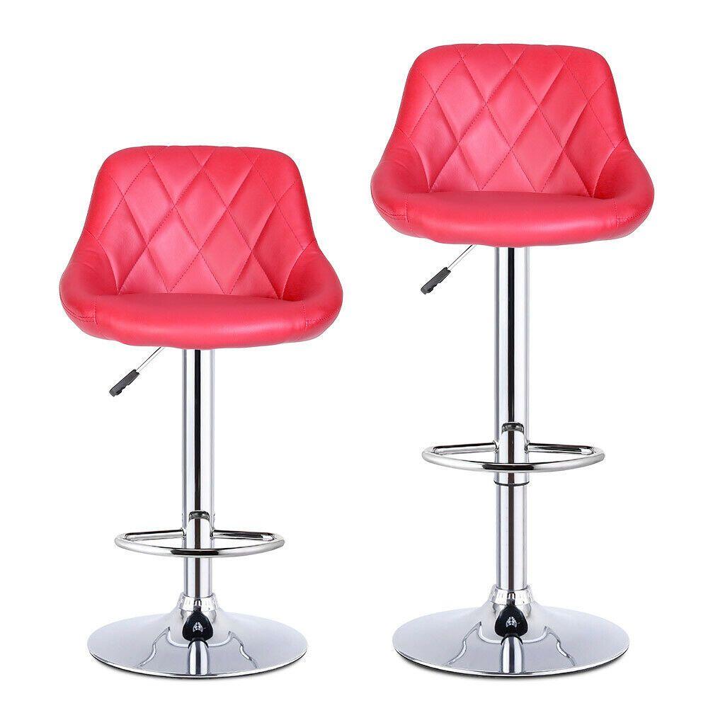 Stupendous Details About 2X Wine Red Madrid Gas Lift Faux Leather Bar Machost Co Dining Chair Design Ideas Machostcouk