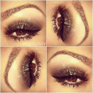 """smoking eyes - eyes using Urban Decay Naked Palette. 1.) VIRGIN on brow bone 2.) CREEP in V and crease 3.) BUCK blended out above crease & GUNMETAL on lid. 4.) SEPHORA eyeliner glitter in SILVER padded on after 5.) ARDELL wispies using Loreal VOLUMINOUS """"false lashes"""" mascara"""