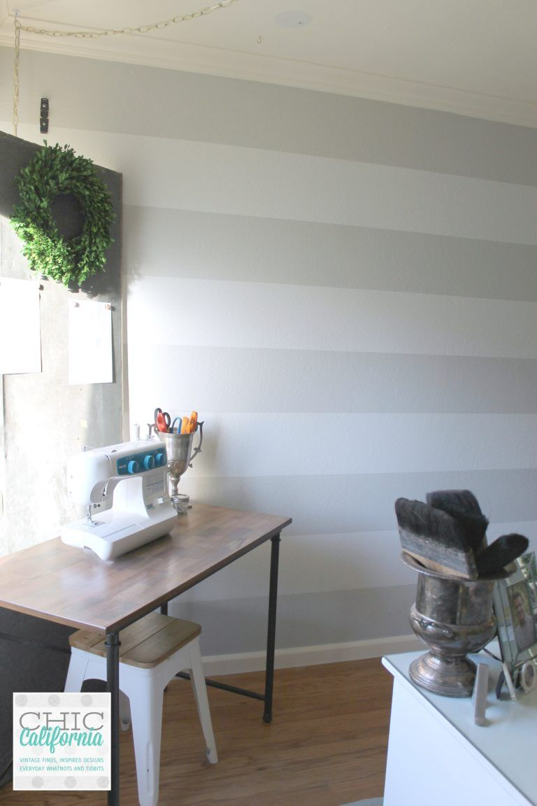 Craft Room Stripes In Gray Owl And White Wisp Striped Room Gray Painted Walls Gray Striped Walls