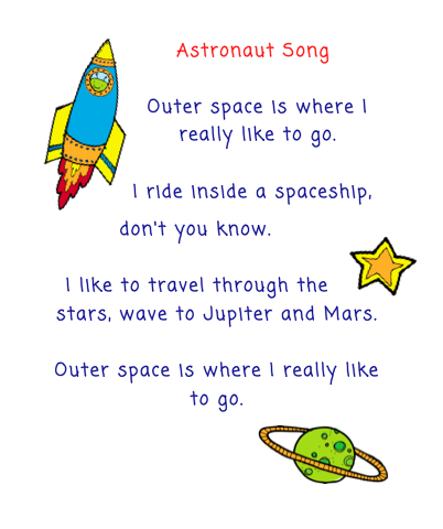 The Very Busy Kindergarten: Astronaut Song for Calendar ...