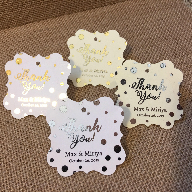 Wedding favor tags, gold foil, personalized, pop fizz clink ...