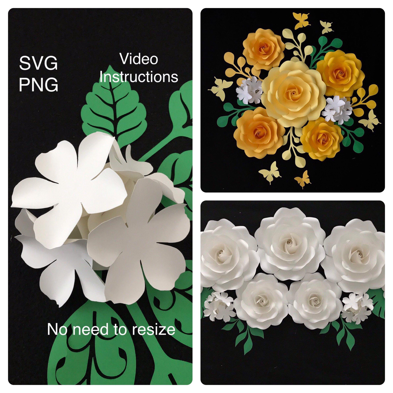 Hydrangea Paper Flower Template Svg Pdf Dxf Png Hydrangea Etsy In 2020 Paper Flower Template Flower Template Large Paper Flower Template