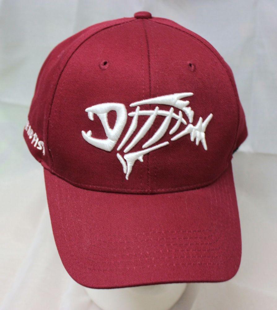 4d95bedc586 G-Loomis Fear No Fish Hat Baseball Cap Maroon Adjustable Velcro Back  Embroidered  gloomis  BaseballCap