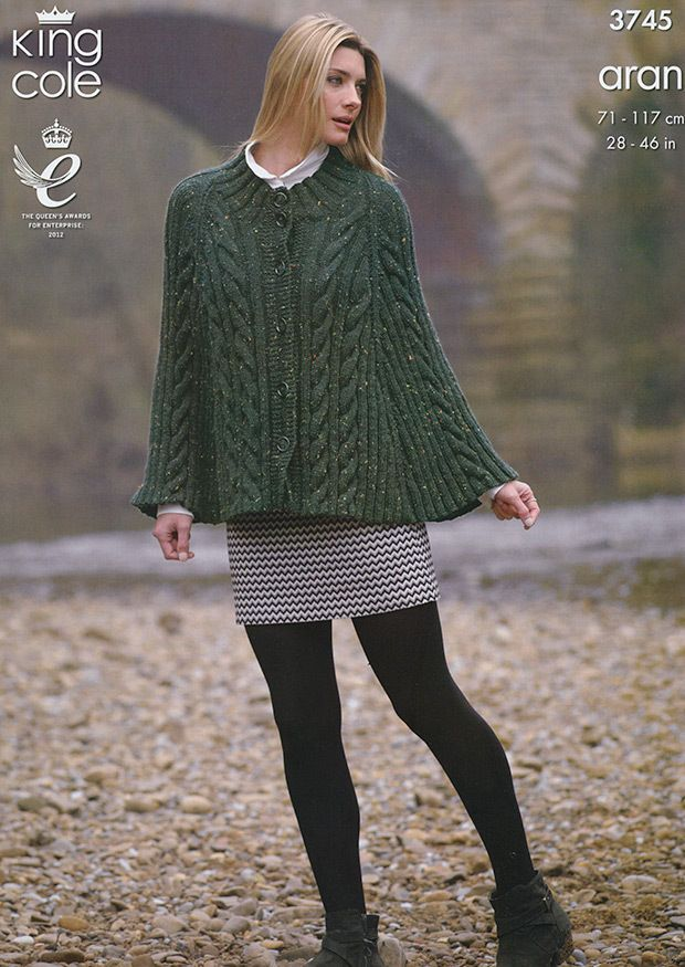 Knitting Pattern Cape And Sweater In King Cole Fashion Aran 3745