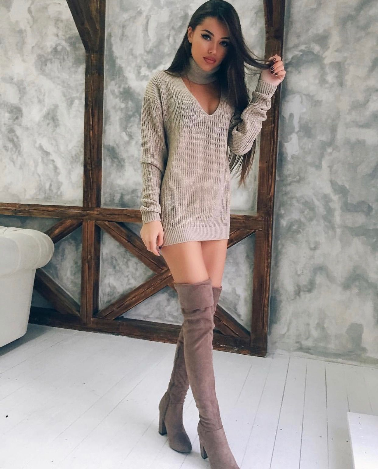 brown suede thigh high boots beige sweater dress