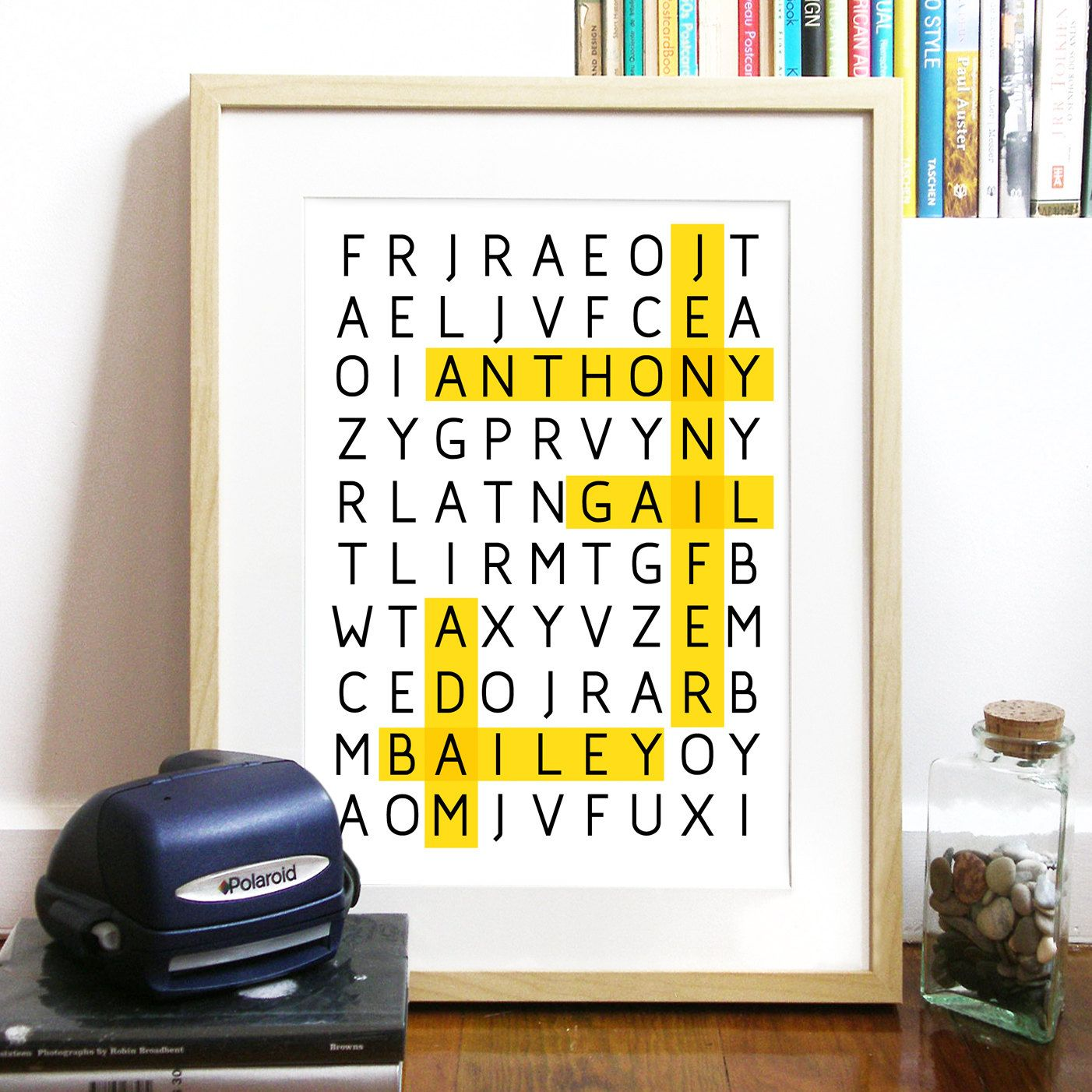 WORD PUZZLE Poster for Family or Friends Great gift Print Typography ...
