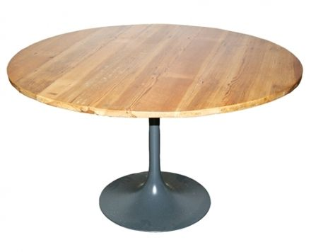 Tulip Table With Reclaimed Wood Top Round Center Table