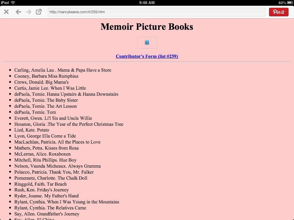 Memoir Picture Books