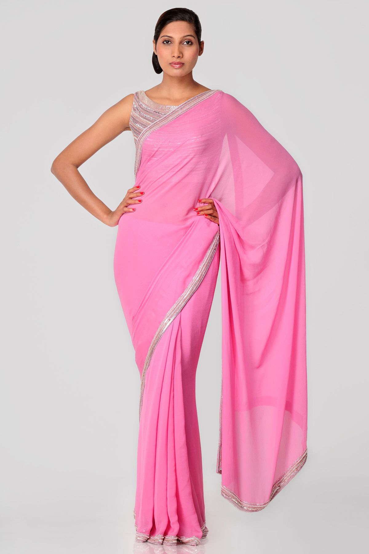 d26fb515378909 Mithra Baby Pink Saree, Jute Sarees, Pink Green Wedding, Bridesmaid Saree,  Indian