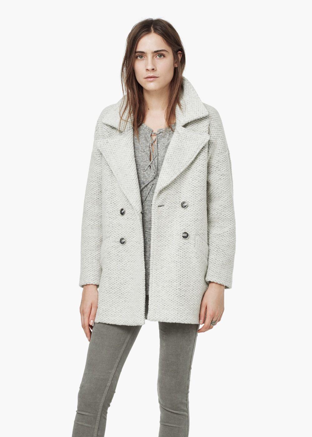 Abrigo bouclé lana Mujer | Coat, Wool coat, Coats for women