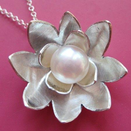 Silver Lotus Necklace by Rachael Sudlow. http://www.etsy.com/shop/sudlow