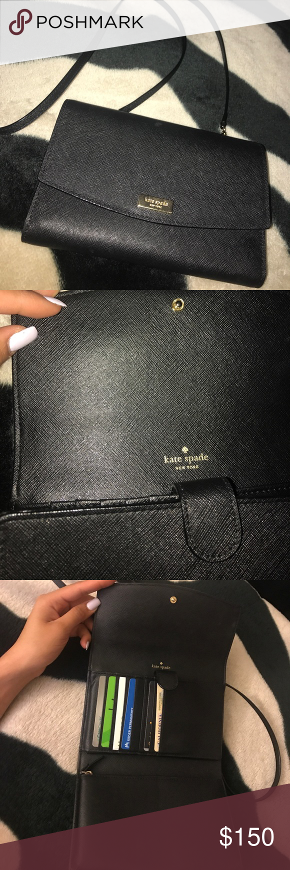 Authentic Kate Spade cross body bag Black leather with gold. Can use as a cross body bag or clutch. kate spade Bags Crossbody Bags
