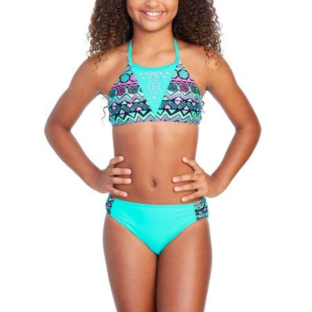 b89fa19ca1a Free 2-day shipping on qualified orders over  35. Buy Wonder Nation Girls   Aqua Tribal Print Fashion Bikini at Walmart.com